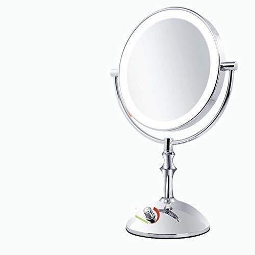 ROSG Espejos de tocador de baño Espejos de baño de 8 Pulgadas, Doble Cara, Aumento 1X / 3X, Espejo de Maquillaje con luz LED, Brillo Ajustable, Acabado Cromado Pulido