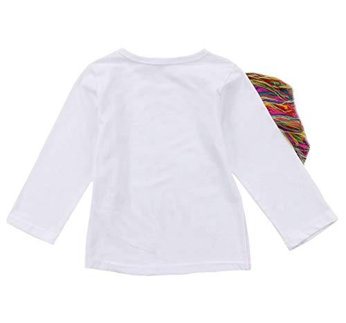 Toddler Kid Baby Girls Tassel Fringe Unicorn Tee Long Sleeve Tops T- Shirt 4
