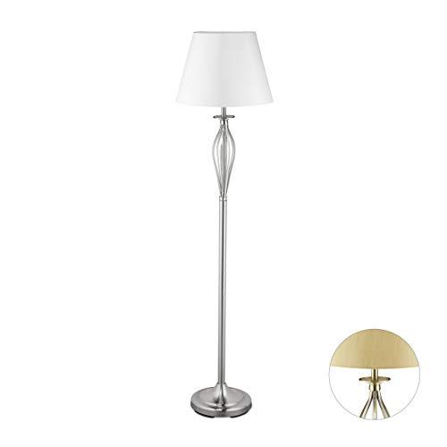 Relaxdays, gouden lamp, decoratieve vloerlamp met schakelaar