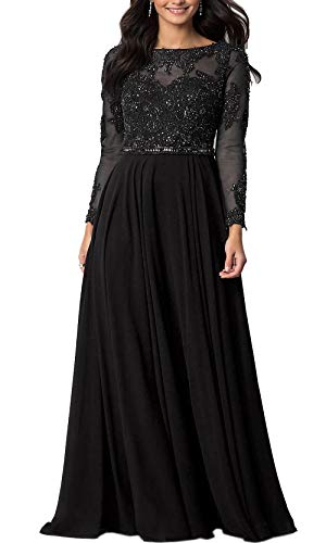 Roiii Women Embroidered Chiffon Prom Wedding Party Cleb Cocktail Formal Gowns Long Dress Size S-3XL (Small, Black)
