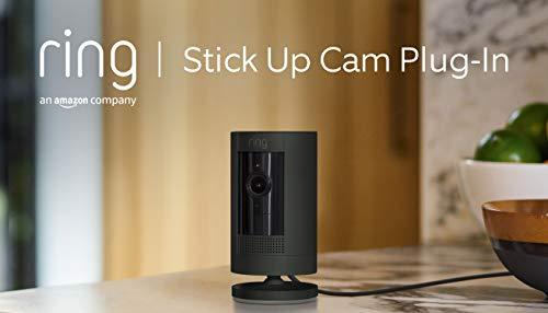 Ring Stick Up Cam Plug-In von Amazon | HD-Sicherheitskamera mit Gegensprechfunktion, funktioniert mit Alexa| Mit 30-tägigem Testzeitraum für Ring Protect | Schwarz