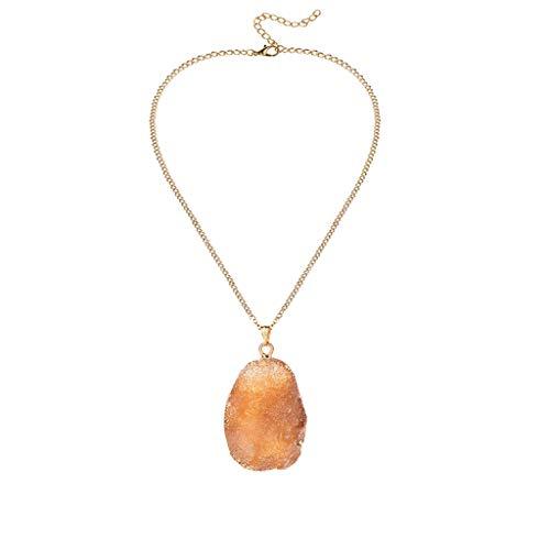 Yowablo Halskette Naturkristall Oval Cluster Anhänger Halskette Unregelmäßige Erzharzlegierung (D)