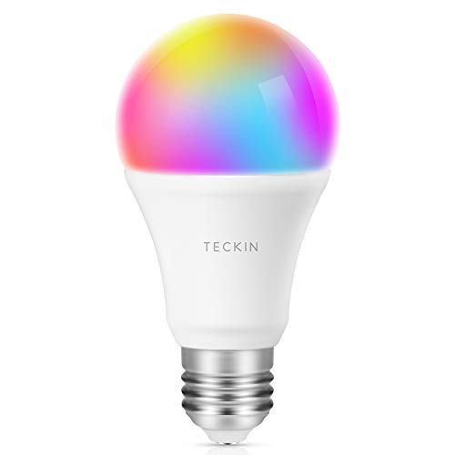 Ampoule LED Intelligente WiFi E27 à intensité variable et multicolore, Compatible avec Google Home,TECKIN RGB Ampoule A19 60W 7,5W,Pas de Hub requis,1 pack