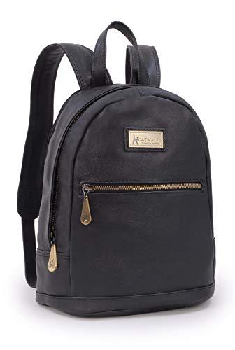 Catwalk Collection Handbags - Leder - Rucksäcke/Schulrucksack/Rucksackhandtasche - für Tablet iPad - FERN - Schwarz