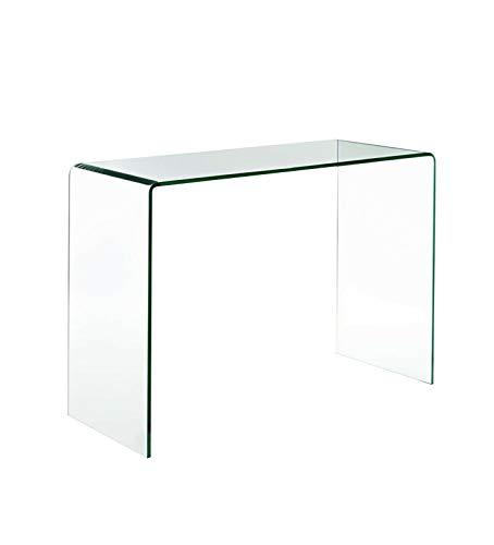 Bricozone Z-17 Consolle Tavolo Tavolino Scrivania Ingresso Soggiorno Salotto Camera da Pranzo Letto Sala di Attesa Vetro Temperato Cristallo Elegante Moderno 114 x 81 x 46 Cm
