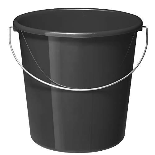 Rotho Vario Eimer 10l mit Henkel, Kunststoff (PP) BPA-frei, anthrazit, 10l (28,0 x 28,0 x 26,0 cm)