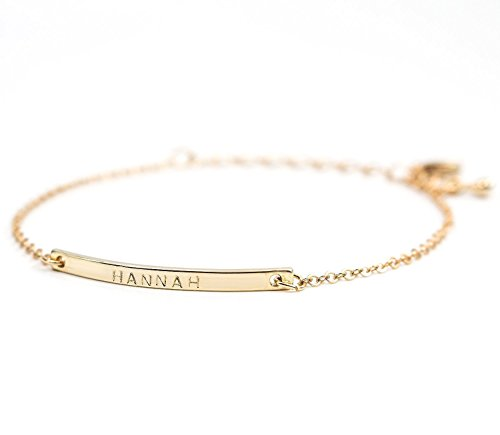 16K Gold Your Name Bar Bracelet - Personalized Gold Plated bar Delicate...