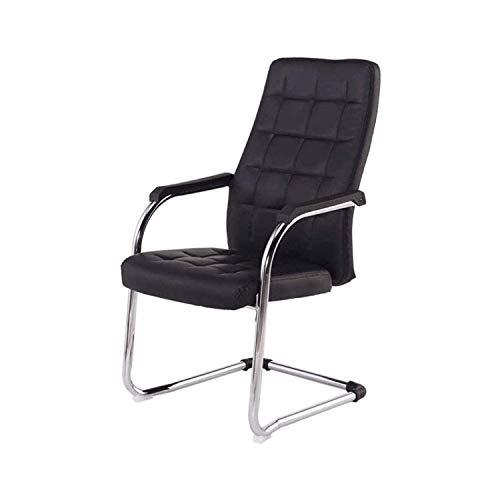 FENXIXI Silla de computadora para reuniones de ocio, silla ergonómica, cómoda silla de cuero con lazo, color negro