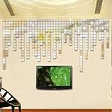 N-brand PULABO Mosaico 3D Cuadrado Espejo de Pared Adhesivo de Pared Adhesivo Acrílico Salón Fondo de Pared Fina Artesanía Resistente