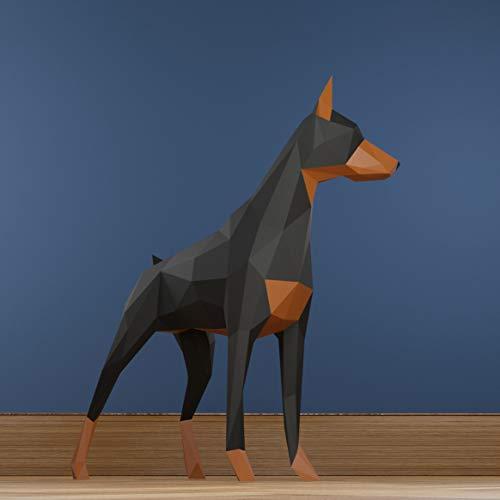 Dobermann, Papercraft kit, Hund papiermodell, Heimdekoration, Geschenk, Origami 3D,...