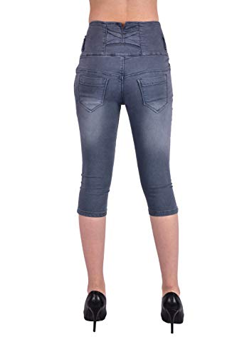 LUXSIS Women's Denim Lycra Skinny Casual 5 Buttoned High Waist Solid Stretchable Knee Length Slim Fit Capri (Grey, 28 - Small)