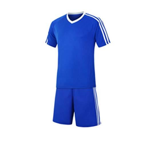Inlefen Football Training Suit Fußballtrikot kurzärmliges Fußballtraining Fußballbekleidung Set EIN Fußballtrikot und EIN kurzes Jugend Set A1Farbe blau -20