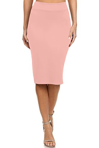 Simlu Women's Below The Knee Pencil Skirt For Office Wear - Made In USA Blush XX-Large