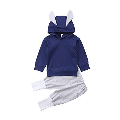 Puseky Ensemble d'enfant à Capuche avec Capuchon et Capuchon pour bébé (Color : Navy Blue+Grey, Size : 2Y-3Y)