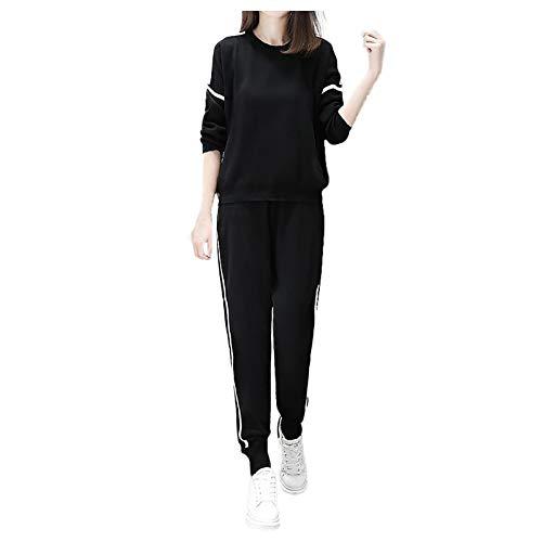 Survêtement Femme Couleur Unie 2 Pièce Ensembles Sportswear Manches Longues Sweatshirts + Pantalon Mode Vetement de Fitness Jogging Costume de Sport Accueil Confortable Pyjama 2021 (Noir, L)