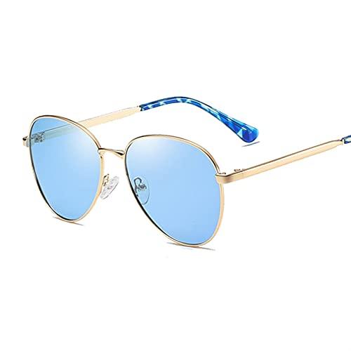 FDNFG Vintage Gafas de Sol polarizadas Mujeres Hombres Rayos de Sol Femenino Masculino Marco de Metal piloto Gafas de Sol (Lenses Color : Gold Blue)