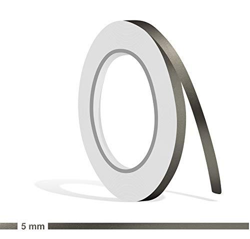 Siviwonder Zierstreifen Graphit grau metallic Glanz in 5 mm Breite und 10 m Länge Folie Aufkleber für Auto Boot Jetski Modellbau Klebeband Dekorstreifen dunkelgrau Silber