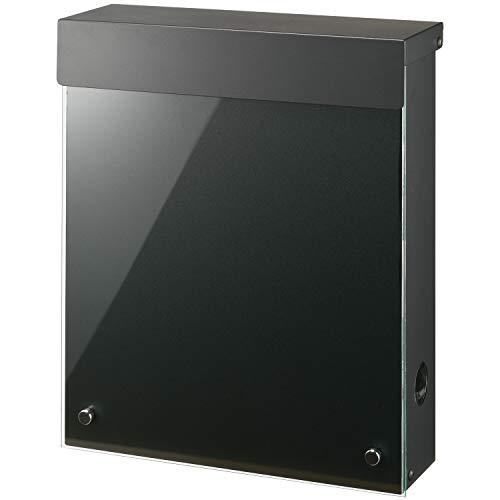 LEON (レオン) MB4902ブラックエディション 郵便ポスト 壁掛けタイプ アクリルガラス製 鍵付き おしゃれ 大型 ポスト 郵便受け (マグネット付き) ブラック