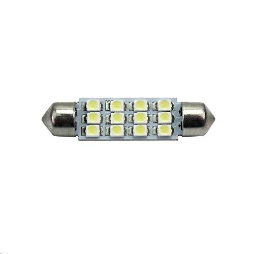 Pinzhi® 41 mm 12 LED SMD ampoule voiture intérieur lampe Festoon Lumière Blanc DC 12 V 0.55 W