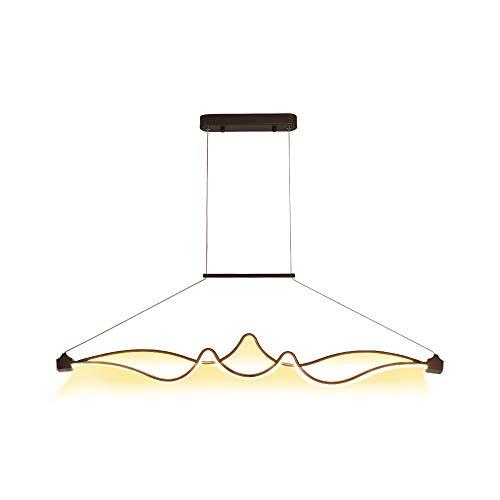 Moderne Vague LED Suspension Lumière pendante marron Aluminium Abat-jour Lampe suspendue Dimmable Avec Télécommande Créatif Désign Lustre Cuisine Île Table de salle à manger Salon Bar Loft Éclairage