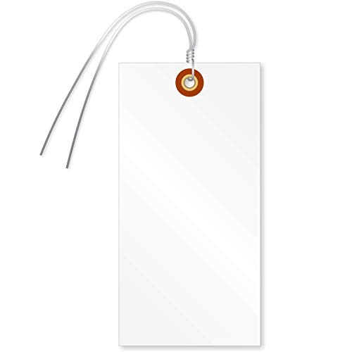 SmartSign Blank Tyvek Shipping Tags with Wire, Size #8 | 6 1/4