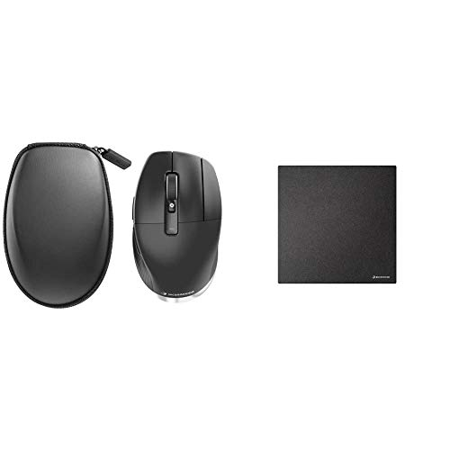3Dconnexion CadMouse Pro Wireless (Ergonomische Maus, optisch, kabellos, Rechtshänder) und CadMouse Pad Compact (Mauspad, schwarz)