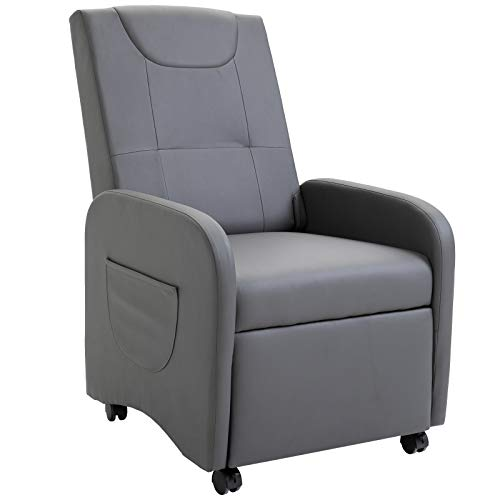 HOMCOM Sofá Individual Sillón de Relax Plegable Reclinable hasta 120°con Reposapiés Extensible con Ruedas 2 Bolsas para Hogar y Oficina Cuero de PU