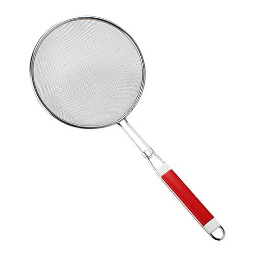 UPKOCH feinmaschige Edelstahlsiebe Küchensiebe mit Kunststoffgriffen zum Kochen Backgröße m 18cm (rot)