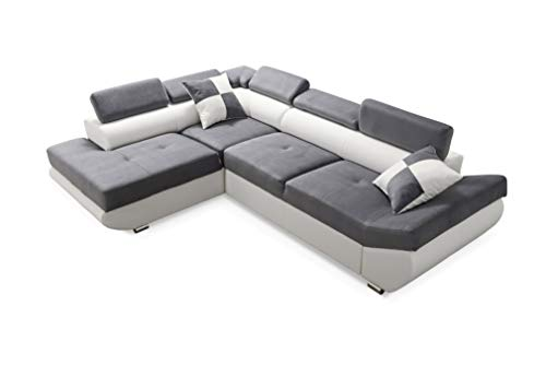 Robin Saturn Ecksofa mit Schlaffunktion, Schlafsofa mit Bettkasten und Kissen, Freistehendes Eckcouch in L-Form, Polstergarnitur Sofa (Grey/Ultra White)
