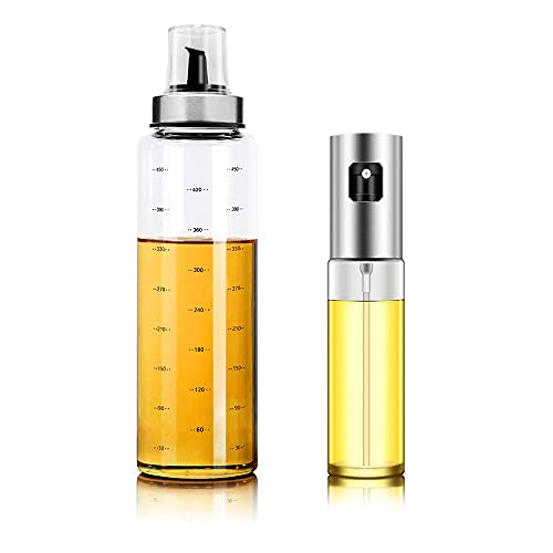 JTELECH Olive Oil Sprayer and Oil Dispenser Bottle Set of 2, Stainless Steel Glass Oil Spray Mister, 17OZ Borosilicate Glass Oil Pourer with Measurements, for Cooking BBQ, Salad, Kitchen Baking, Roasting, Frying