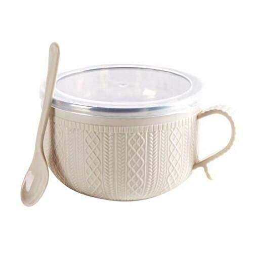 Classicoco RVS Bowl met Deksel Lepel voor Instant Noodles Rijst Huishoudelijke Gebruiksvoorwerpen