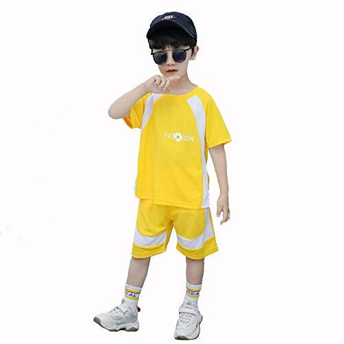 TANERDD Jungen Schnelltrocknende Basketball Jersey-Sportswear, Sommerkind Ärmelloses T-Shirt Basketball Swingman Trainingskleidung Match Trikot,Gelb,110cm