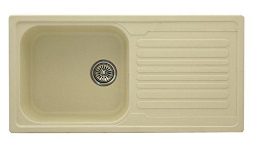 ZINZER Plain Smooth Matt Finish Granite/Quartz Kitchen Sink - Single Bowl Drainboard (36 x 18 x 8 inch, Matt Ivory Color)