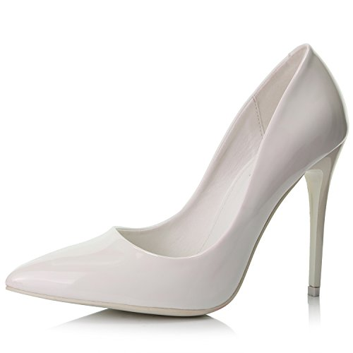 DailyShoes Pointed Closed Toe Women's Paris-01 Stiletto Pump High Heels Stilettos Closed Point Toe Classic Mid Heel Shoes Pointy Slip On Pumps Dress Wedding Bridal White Pt 5