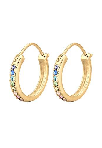 Elli Ohrringe Damen Creole Regenbogen mit Swarovski® Kristalle in 925 Sterling Silber