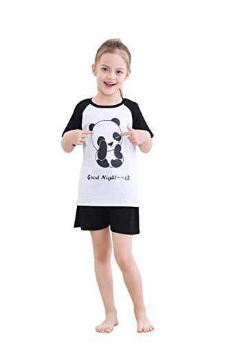 Alcea Rosea Schlafanzug Set Baumwolle Panda/Pinguin Pyjama Set Kurzarm Nachtwäsche Pyjama Set für Kinder Größe 3Y-12Y(Schwarz, Kinder - 150 cm - 11-12 Jahre)…