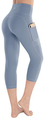 ESPIDOO Yoga Pants for Women, High Waist Tummy Control, 4 Way Stretch Capri Leggings with Pockets, L