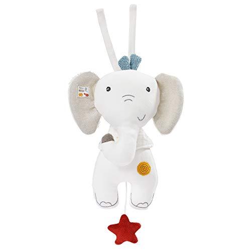 Fehn 056013 - Caja de música con forma de elefante - Peluche y ayuda para dormir de algodón orgánico certificado (kbA), relleno de fibras PLA - Melodía «Träumei» calma a bebés y niños pequeños