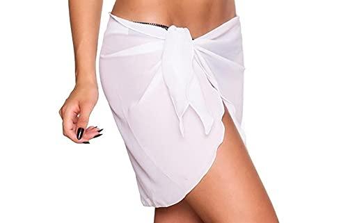 Mujeres Beach Wrap Sarong Cover Up Pareo Falda De Gasa Ropa De Playa Traje De Baño (Color : White, Size : One Size)