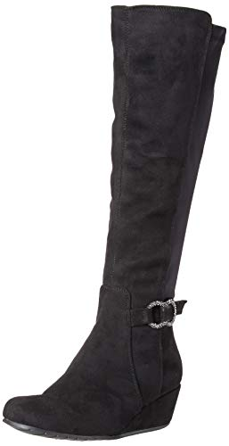 Kenneth Cole REACTION Women's Tip Dress Wedge Heel Tall Shaft Boot Knee High, Black Microsuede, 8.5 M US