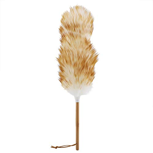 Lambs Wool Duster with Wood Handle Feather Duster Lambswool Dusters Soft and Fluffy Duster for Blinds Kitchen Keyboard Office