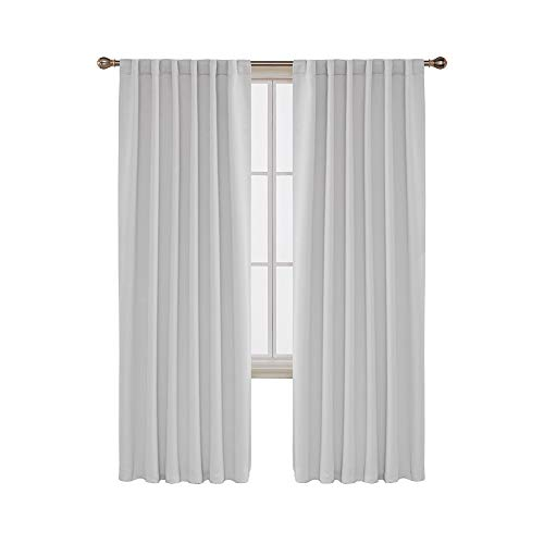 Deconovo Back Tab and Rod Pocket Curtains Blackout Curtains Thermal Insulated Room Darkening Curtains for Bedroom 52x95 Inch Platinum 2 Panels