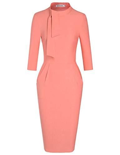 MUXXN Classic Cut Out Neck Pockets Waist Pink Office Business Pencil Dress for Women (Peach XXL)