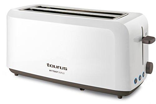 Taurus Mytoast Duplo-Tostadora (1450 W, Tres Funciones, Iluminación LED) 0 Decibeles, 2 Ranuras Extra Largas, Plástico, Color Blanco