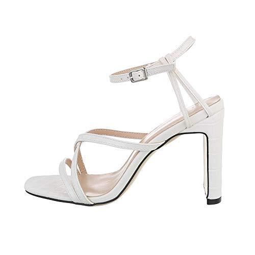 Ital-Design Damenschuhe Sandalen & Sandaletten High Heel Sandaletten, 3811-, Kunstleder, Weiß, Gr. 36