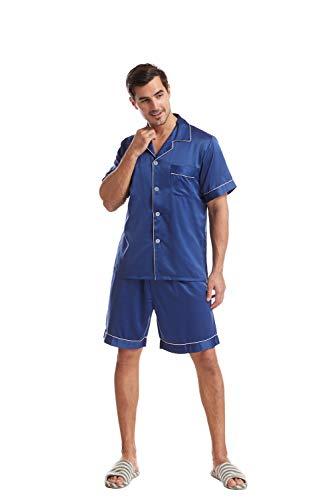 Asskyus Conjuntos de Tops y Pantalones Cortos de Pijamas para Hombres, Camisas de Dormir sedosas para Dormir