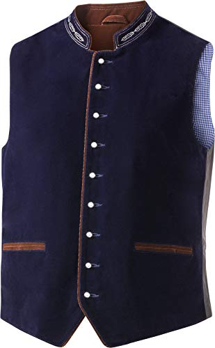 Tiroler Loden Herren Trachtenweste, Trachtenmode für Männer, Weste aus Samt und Polyester, traditionelle Kleidung mit feinen Stickereien & Verzierungen, Gr. 52-60
