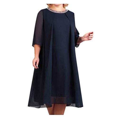 N\P Vestido suelto de gasa de manga corta con lentejuelas de color sólido con cuello en O - negro - 3X