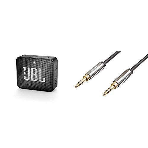 JBL GO 2 kleine Musikbox in Schwarz – Wasserfester, portabler Bluetooth-Lautsprecher & Amazon Basics Aux-Kabel, Stereo-Audiokabel, 3,5mm-Klinkenstecker auf 3,5mm-Klinkenstecker, 1,2m