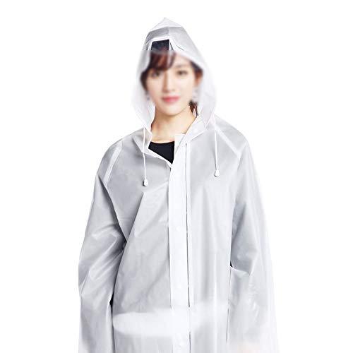 Non Wegwerp Regenjas Adult Dikke EVA Outdoor Travel Fashion Lichtgewicht Poncho Transparant Waterdicht Stofdicht Beschermend Pak Dragen Bij Dames (10 Pack),White